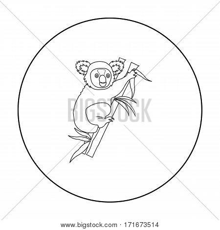 Australian koala icon in outline design isolated on white background. Australia symbol stock vector illustration.