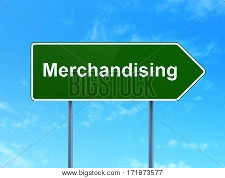 Advertising concept: Merchandising on green road highway sign, clear blue sky background, 3D rendering