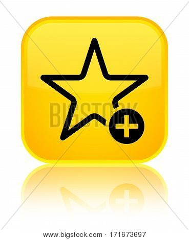 Add To Favorite Icon Shiny Yellow Square Button
