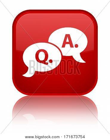 Question Answer Bubble Icon Shiny Red Square Button