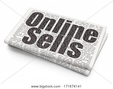 Marketing concept: Pixelated black text Online Sells on Newspaper background, 3D rendering