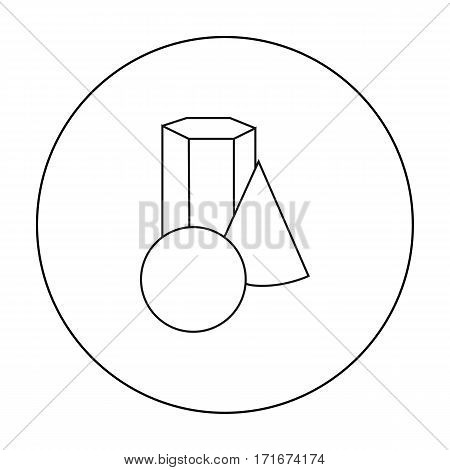 Geometric still life icon in outline style isolated on white background. Artist and drawing symbol vector illustration.