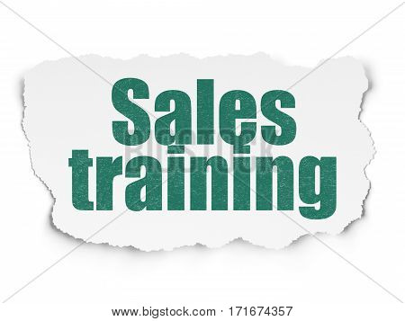 Advertising concept: Painted green text Sales Training on Torn Paper background with  Hand Drawn Marketing Icons