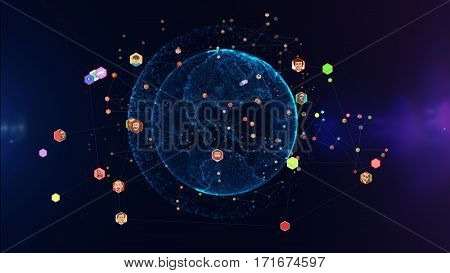 3D illustration. Communication of people in a social network without boundaries. Connection lines Around Earth Globe Futuristic Technology Theme Background with Light Effect.