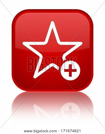 Add To Favorite Icon Shiny Red Square Button