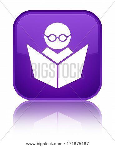 Elearning Icon Shiny Purple Square Button