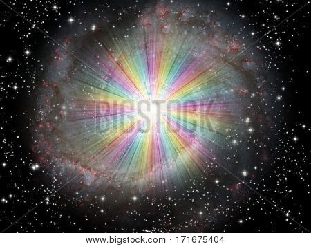 Rainbow Light burst with stars  Some elements provided courtesy of NASA   3D Render