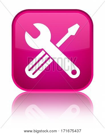 Tools Icon Shiny Pink Square Button