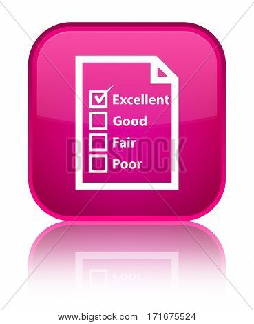 Questionnaire Icon Shiny Pink Square Button