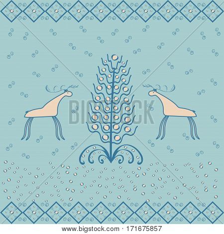 Reindeer near Christmas tree ornament ethnic. National vector background nature animals