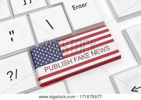 Computer Keyboard USA Media Concept: Publish Fake News Key With US Flag As A Hot Button 3d illustration