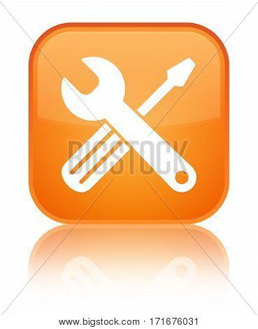 Tools Icon Shiny Orange Square Button