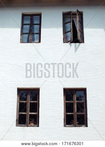 Retro windows isolated on white wall background