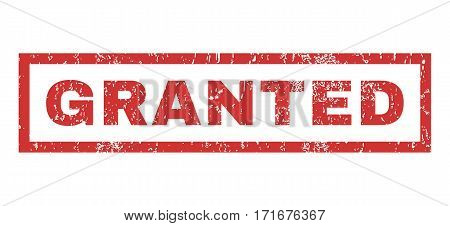 Granted text rubber seal stamp watermark. Caption inside rectangular shape with grunge design and scratched texture. Horizontal vector red ink sticker on a white background.