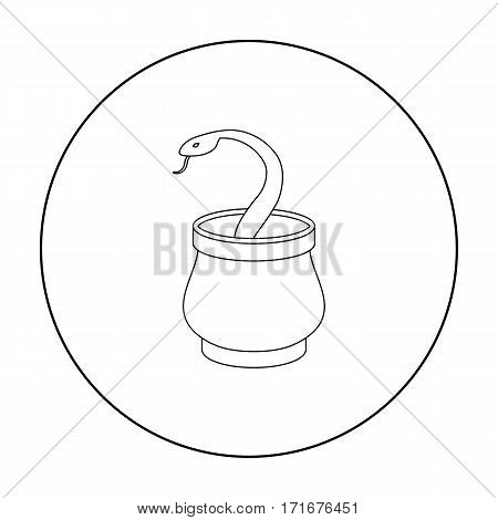 Snake in basket icon in outline style isolated on white background. Arab Emirates symbol vector illustration.