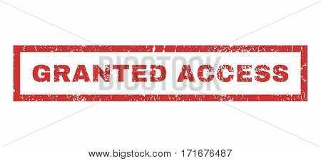 Granted Access text rubber seal stamp watermark. Tag inside rectangular shape with grunge design and dirty texture. Horizontal vector red ink sticker on a white background.