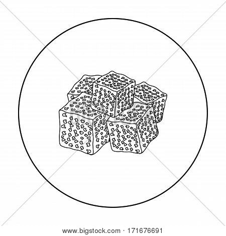 Turkish delight icon in outline style isolated on white background. Arab Emirates symbol vector illustration.