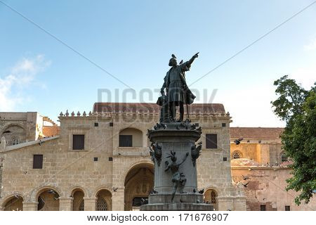 Columbus Statue and Cathedral at Colon Park in Santo Domingo, Dominican Republic