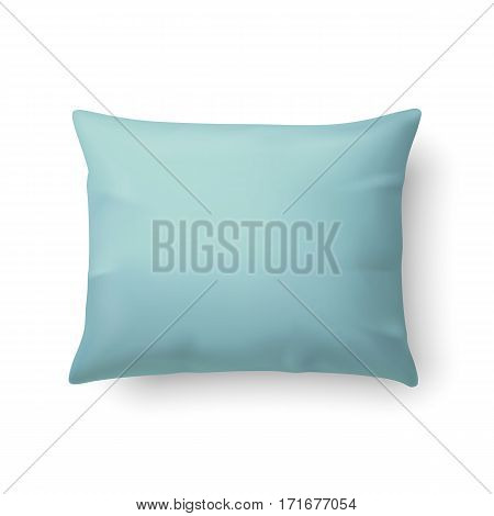 Close Up of a Classic Aquamarine Pillow Isolated on White Background