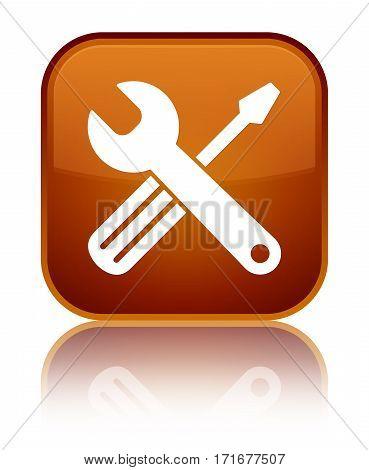 Tools Icon Shiny Brown Square Button