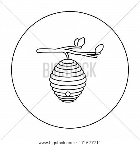 Beehive icon in outline style isolated on white background. Apiary symbol vector illustration