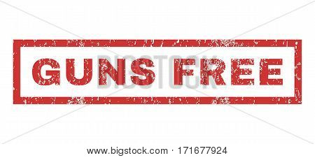 Guns Free text rubber seal stamp watermark. Tag inside rectangular banner with grunge design and dirty texture. Horizontal vector red ink sign on a white background.