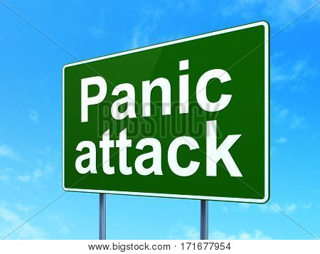 Health concept: Panic Attack on green road highway sign, clear blue sky background, 3D rendering