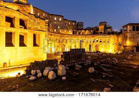 Ancient ruins in Rome at night, Italy