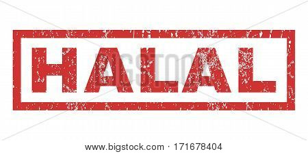 Halal text rubber seal stamp watermark. Caption inside rectangular shape with grunge design and unclean texture. Horizontal vector red ink emblem on a white background.