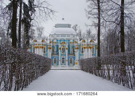 Winter morning and the Hermitage pavilion in Tsarskoye Selo