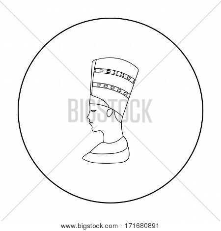 Bust of Nefertiti icon in outline style isolated on white background. Ancient Egypt symbol vector illustration.