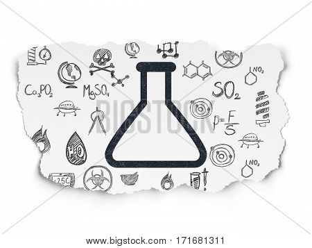 Science concept: Painted black Flask icon on Torn Paper background with  Hand Drawn Science Icons