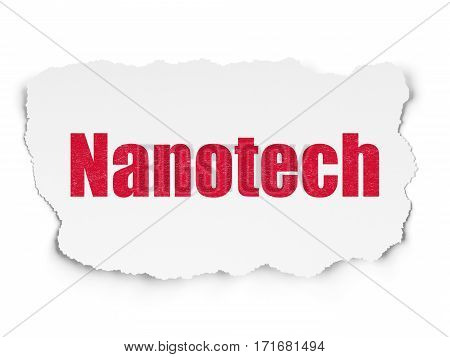 Science concept: Painted red text Nanotech on Torn Paper background with  Tag Cloud