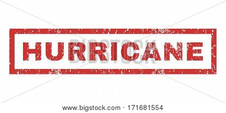 Hurricane text rubber seal stamp watermark. Caption inside rectangular banner with grunge design and scratched texture. Horizontal vector red ink emblem on a white background.