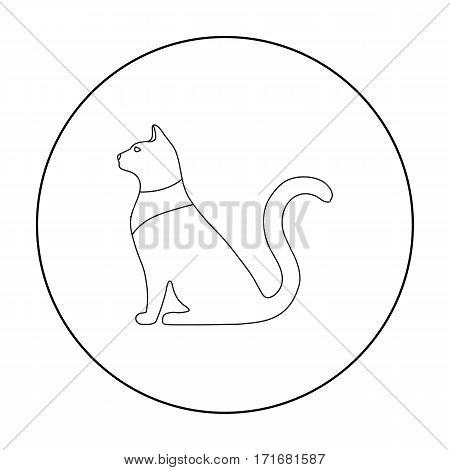 Cat goddess Bastet icon in outline style isolated on white background. Ancient Egypt symbol vector illustration.