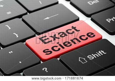 Science concept: computer keyboard with word Exact Science, selected focus on enter button background, 3D rendering