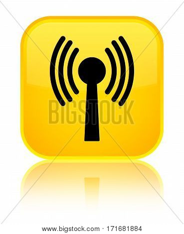 Wlan Network Icon Shiny Yellow Square Button