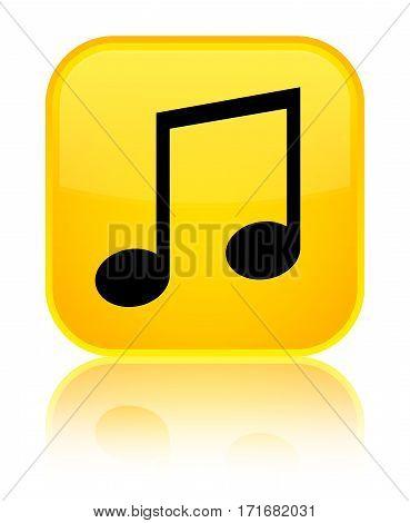 Music Icon Shiny Yellow Square Button