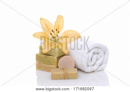 Spa setting with lily,soap,towel