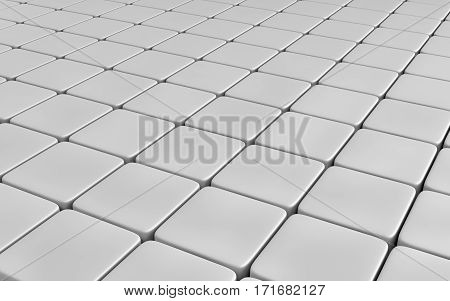 Grey abstract image of cubes background. 3d rendering