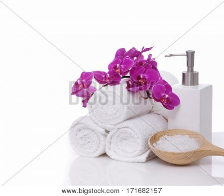 SPA objects over white background