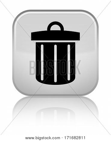 Recycle Bin Icon Shiny White Square Button