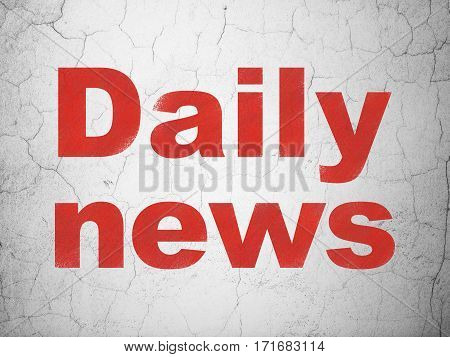 News concept: Red Daily News on textured concrete wall background