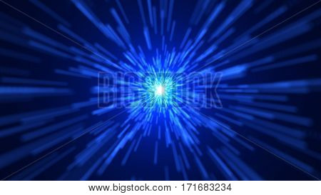 Space traveling. Blue Particle zoom background. 3D rendered