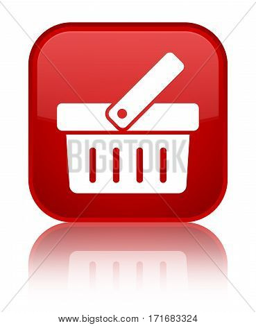 Shopping Cart Icon Shiny Red Square Button