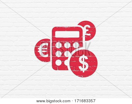 News concept: Painted red Calculator icon on White Brick wall background