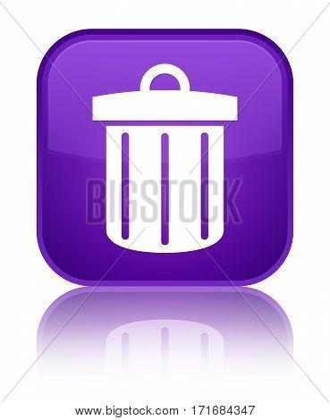 Recycle Bin Icon Shiny Purple Square Button