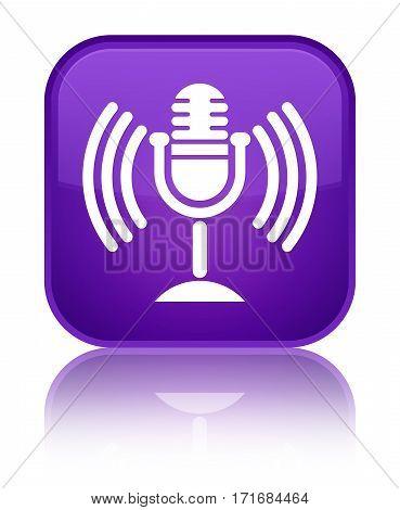 Mic Icon Shiny Purple Square Button