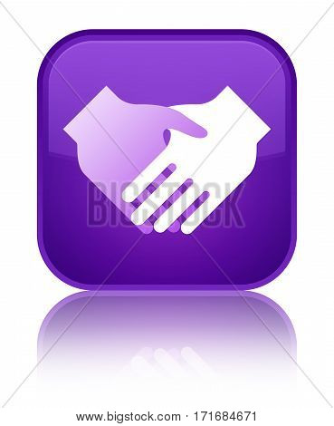 Handshake Icon Special Purple Square Button