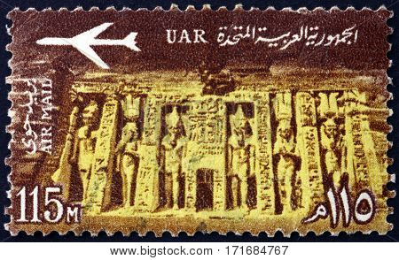 EGYPT - CIRCA 1963: a stamp printed in Egypt shows Temple of Queen Nefertari Meritmut the first of the Great Royal Wives of Ramsesses the Great Abu Simbel circa 1963